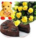A Bunch of 12 Yellow Roses + A Small cute Teddy Bear + 1/2 kgm Chocolate Cake