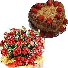 A Bunch of 24 Red Roses and 1 kgm Heart Shaped Chocolate Cake