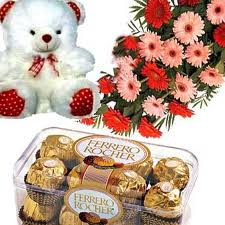 12 Mixed Coloured Zerberas + A Small Cute Teddy Bear + 16 Pcs Ferrero Rocher