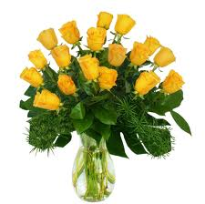 18 Yellow Roses In A Vase