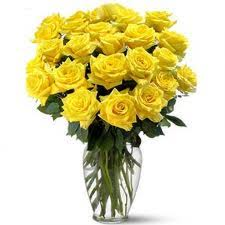 24 Yellow Roses In A Vase