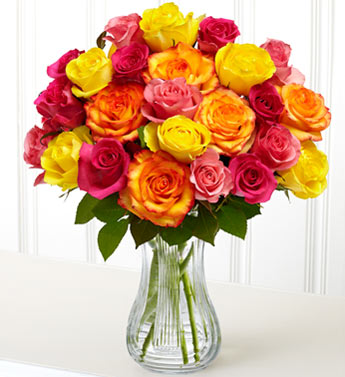 18 Mixed Colored Roses In A Vase