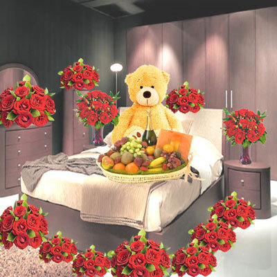 10 Baskets Of 12 Red Roses Each, 12 Red Roses In A Vase, 24 Red Roses In A Vase, 3 Feet Tall Teddy Bear, 5 Kg Assorted Fruit Basket, A Bottle Of Champagne And A Box Of Cadburys Celebration Pack