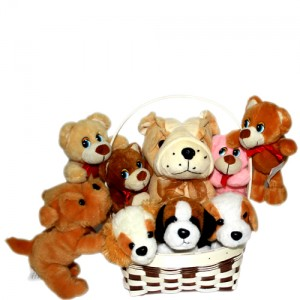 Four Medium Size Teddy Bears And Four Small Teddy Bears ( Please Note that The Color And The Design May Vary )
