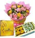 1Kg Assorted Mithai, Bunch Of Assorted Flowers With A Box Of Cadburys celebration Pack