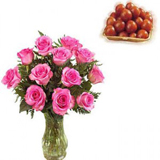 12 Pink Roses In A Vase And 1Kg Gulab Jamun