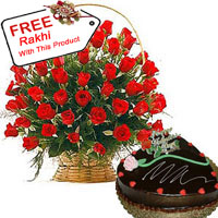 Basket Of 50 Red Roses, 1Kg Heart Shaped Chocolate Cake With A Free Rakhi.