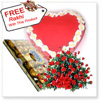 Basket Of 100 Red Roses, Box Of 16 Pieces Ferrero Rocher, 1Kg Heart Shaped Strawberry Cake With A Free Rakhi.