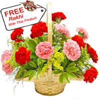 Basket Of 12 Mixed Colored Carnations With A Free Rakhi.