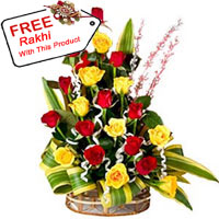 Basket Of 18 Mixed Colored Roses With A Free Rakhi.
