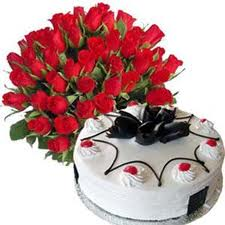 A Bunch of 50 Red Roses + 1/2 kgm Pinapple Cake