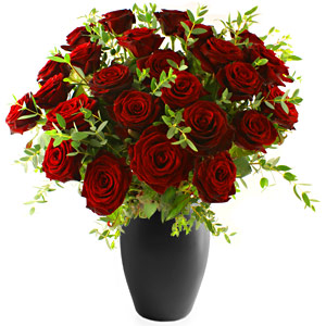 30 Red Roses With Seasonal Fillers In A Vase