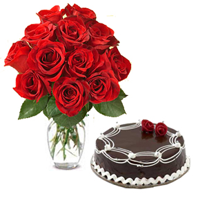 12 Red Roses In A Vase And 1 Kg Chocolate Cake
