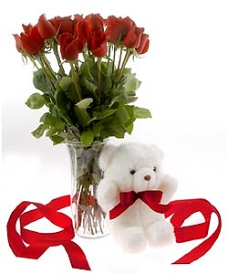 12 Red Roses In A Vase And A Small Cute Teddy Bear