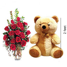 18 Red Roses In A Vase With A 2 Feet Tall Teddy Bear